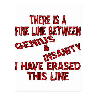 Fine Line Between Genius And Insanity Postcard