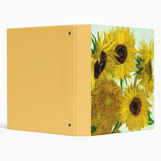 Fine Van Gogh Sunflowers Vintage Floral Vinyl Binder