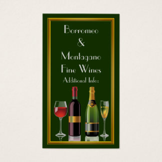 Fine Wine Green Business Card 2
