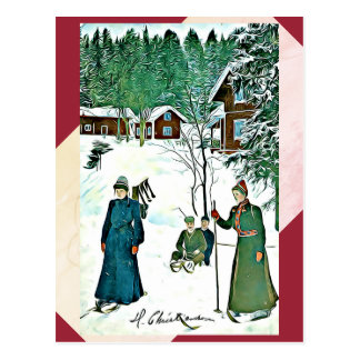 Fineart vintage Winter Scene red/green postcard