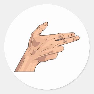 Finger Gun Pistol Shooting Hand Sign Gesture Round Sticker