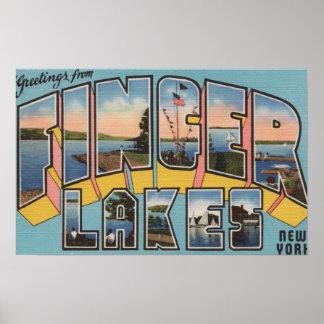 Finger Lakes, New York - Large Letter Scenes Poster