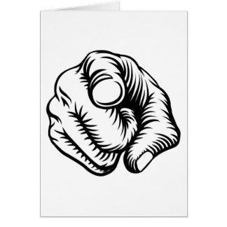 Finger Pointing Hand Fist Wants You Card