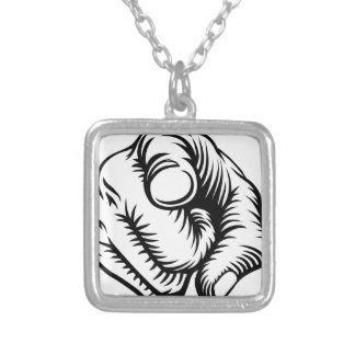 Finger Pointing Hand Fist Wants You Silver Plated Necklace