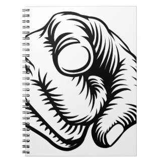 Finger Pointing Hand Fist Wants You Spiral Note Book