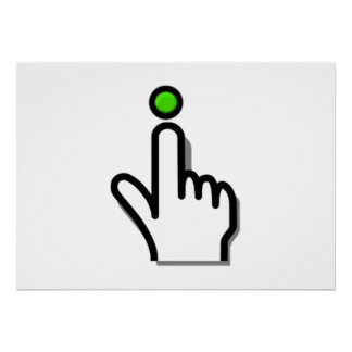 Finger Pushing Button Posters
