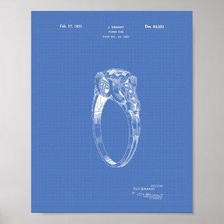 Finger Ring 1930 Patent Art Blueprint Poster