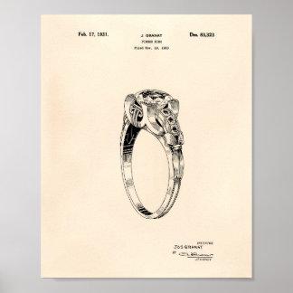 Finger Ring 1930 Patent Art Old Peper Poster