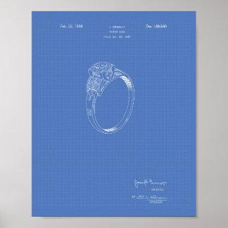 Finger Ring 1937 Patent Art Blueprint Poster