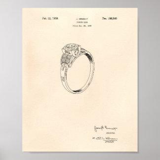 Finger Ring 1937 Patent Art Old Peper Poster