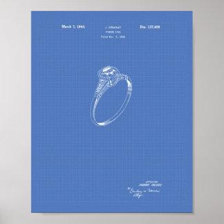 Finger Ring 1942 Patent Art Blueprint Poster