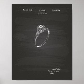 Finger Ring 1942 Patent Art Chalkboard Poster