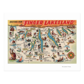 Fingerlakes, New York - Detailed Map Postcard
