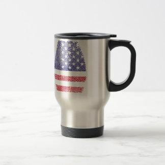 Fingerprint American USA National Flag Independenc Travel Mug