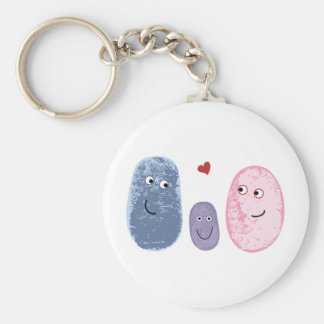 Fingerprint family basic round button keychain