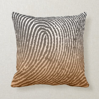 Fingerprint in Brown Throw Pillow