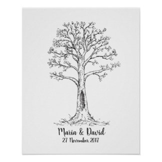 Fingerprint tree, GuestBook, Thumbprint Tree Poster