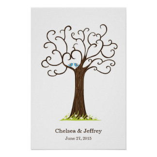 Fingerprint Tree (Heartastic Dark Brown) Poster