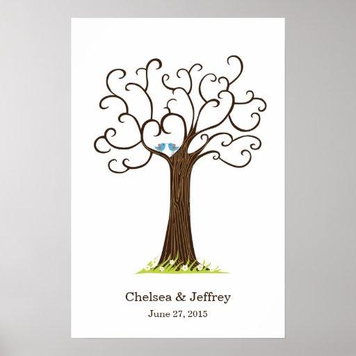 Fingerprint Tree (Heartastic Dark Brown) Poster