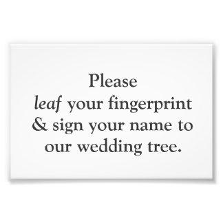Fingerprint Tree Instruction Card Photo Print