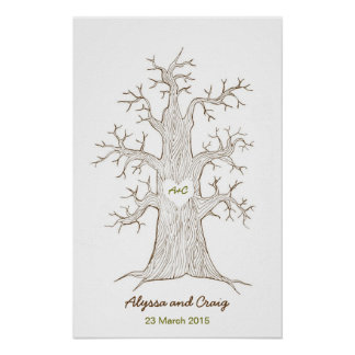 Fingerprint Tree Wedding Green Poster