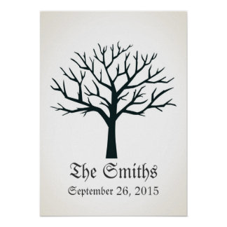 Fingerprint Tree Wedding Guestbook Poster
