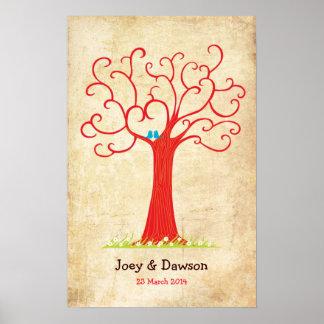 Fingerprint Tree Wedding Heartastic Red Vintage Poster