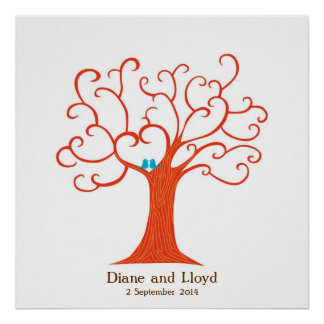 Fingerprint Tree Wedding (Heartastic) Square Poster