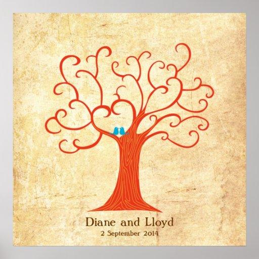Fingerprint Tree Wedding (Heartastic) Square Vinta Poster