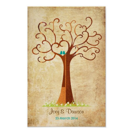 Fingerprint Tree Wedding - Heartastic (Vintage) Print