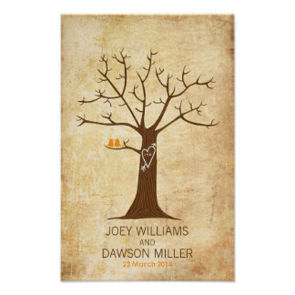 Fingerprint Tree Wedding (Rustic Vintage) Poster