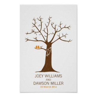 Fingerprint Tree Wedding (White) Poster