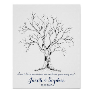 fingerprint wedding guest book tree hand drawn
