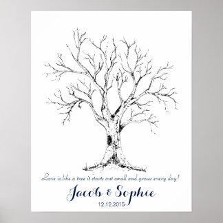 fingerprint wedding guest book tree hand drawn