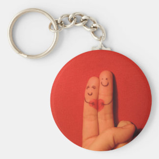 Fingers love romance artistic illustration basic round button keychain