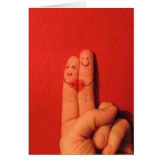 Fingers love romance artistic illustration cards
