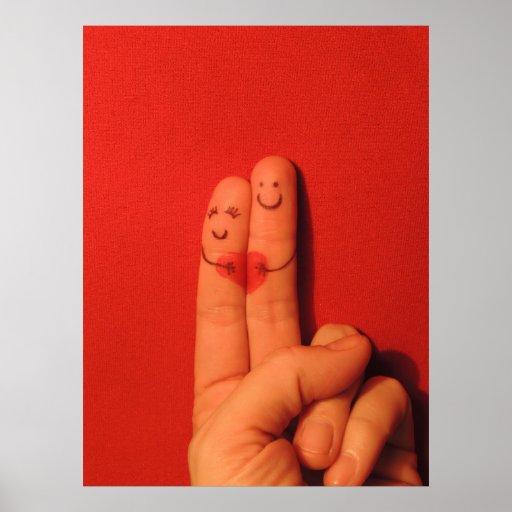 Fingers love romance artistic illustration posters