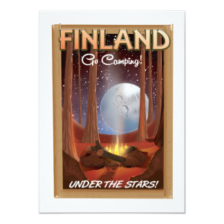 Finland camping under the stars poster card