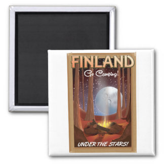 Finland camping under the stars poster square magnet