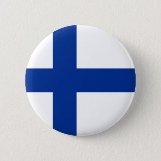 finland country flag long symbol 2 inch round button