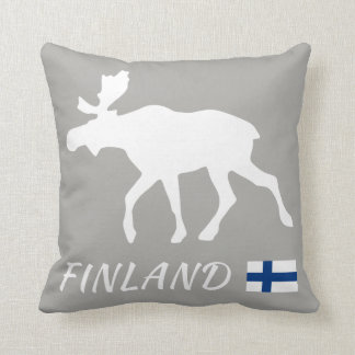 Finland Elk and flag Throw Pillow