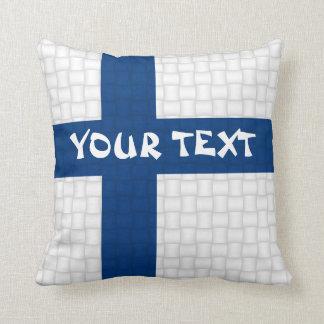 Finland Finnish flag: ADD TEXT Throw Pillow
