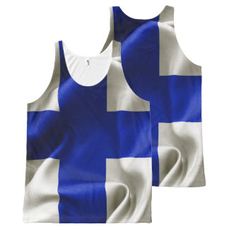 Finland Flag All Over Print Unisex Tank Top