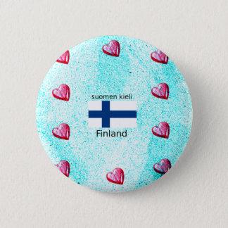 Finland Flag And Finnish Language Design 2 Inch Round Button