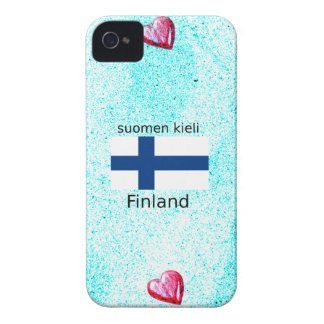Finland Flag And Finnish Language Design iPhone 4 Case