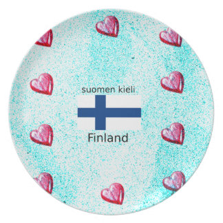 Finland Flag And Finnish Language Design Plate