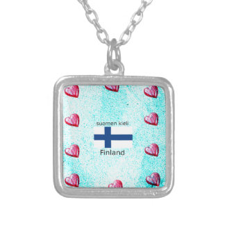 Finland Flag And Finnish Language Design Silver Plated Necklace