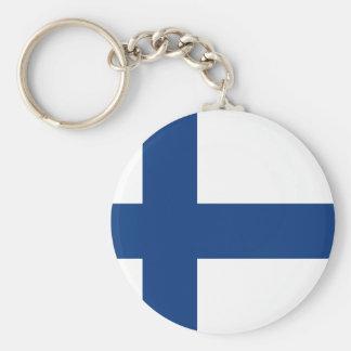 Finland flag basic round button keychain
