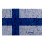 Finland Flag Marble Stone Wall Poster