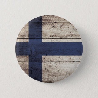 Finland Flag on Old Wood Grain 2 Inch Round Button